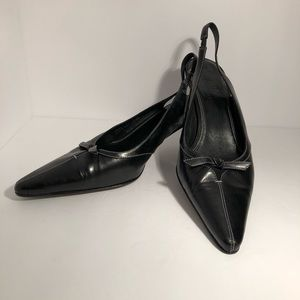 Cole Haan Black Leather Slingback Pointed Toe